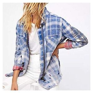 Free People Deconstructed Flannel Shirt Jacket